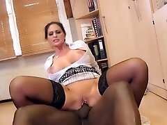 Huge-boobed German MILF secretary gets a taste Big Black Cock at the office