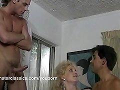 Busty classic pornstar dual anal