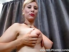 Sexy blonde Saffy penetrates pussy with heels in vintage nylons and lingerie