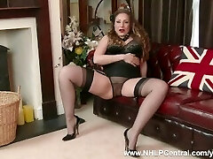 Natural big tits brunette Sophia Delane strips to nylons leather heels as bra panties off and wanks