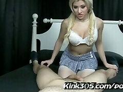 Cristi Ann blows her stepbro after she finds him jerking! Kink305 old-school