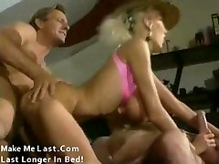 Classical pornography with huge tits blonde banged by two