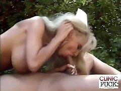 Big-chested Nurse Hard-on Sucking By The Pool