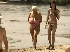 Retro huge tits combine on Russian beach