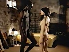 Brown-haired white girl with dark-hued lover - Softcore Interracial