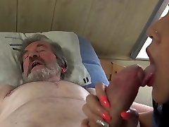 Youthful sexual healing for old stud in pain