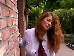 Sexy and buxom curly MILF outdoor with Three guys