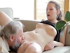 Super-naughty old man drills son's girlfriend