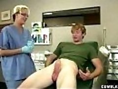 Super-naughty therapist takes advantage of her patient by stroking his hard cock