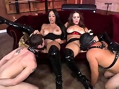Two Dominatrix fun with subs
