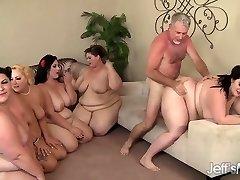 Five Horny BBWs fucked by 3 dicks