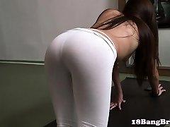 Flexible 18yo juggling her puss on cock pov