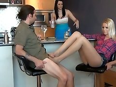Under the Table Pantyhose Feet Wank While Fiance is Unaware