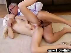 Blonde babe gets hot old guy boinking and enjoys it