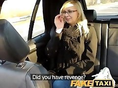 FakeTaxi Cab driver fucks glasses blonde on backseat