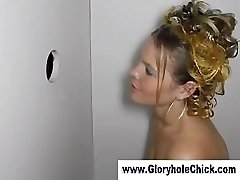 Tart deepthroats strangers at gloryhole