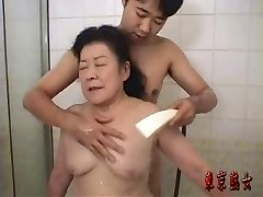 Japanese grandmother enjoying sex