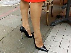Walking n teasiing in high stilettos
