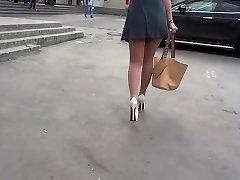Steamy legs in shiny stockings