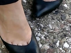 shoeplay in old school high-heeled slippers compilation