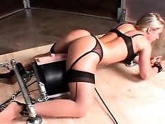 Machine fucked hot sex slave cumming rock-hard