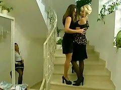 Maid creeps on  lesbians