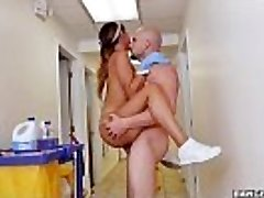 BANGBROS - The new cleaning girl gulps a load!