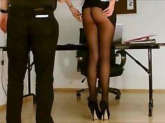Assistant pantyhose unsheathed.