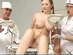 a plumpy chesty Russian babe on a gyno examination gets humiliated