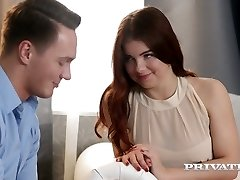Romantic and sensual hook-up with red haired babe with pierced nipples Renata Fox
