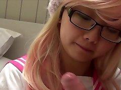 pink schoolgirl BJ