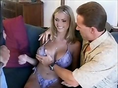 sexy blonde mom playing with two studs