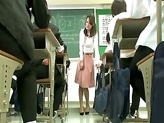 Remote vibrator under teacher micro-skirt