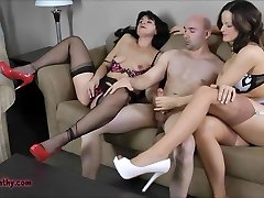 Two milfs throating and boinking lucky guy