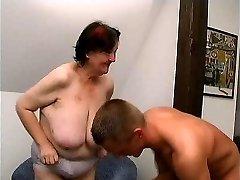 young man pulverizes 70 yo ugly fat granny oma