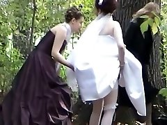 A jewel among voyeur vids with a bride peeing in the woods