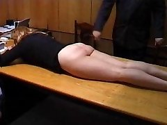 Naughty Assistant is Punished with a Strapping