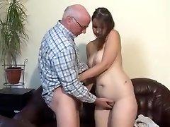 Chubby german girl drilled by senior man