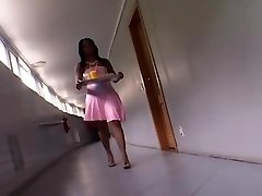 Pretty Ebony Maid Sits On Her Man's Face