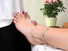 feet wank under table