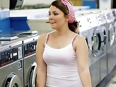 ExxxtraSmall - Petite Nubile Pounded in Laundromat
