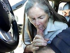 Grandma sucks in the truck