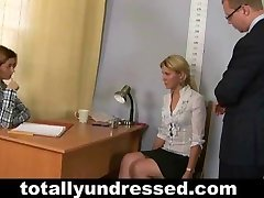 Embarassing naked job interview for blond nymph