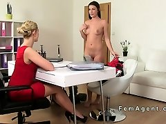 Tempted brunette ultra-cutie in lesbian casting
