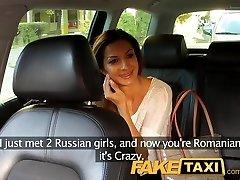 FakeTaxi Hot Romanian lady in backseat blowjob