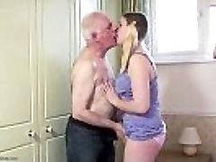 Plump teen pussy filled with elderly cock