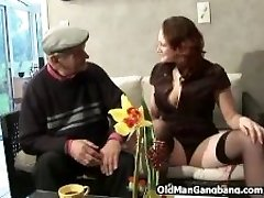 Younger gals share older cock