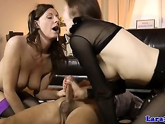 Mature jizz-swapping threesome with brit milf