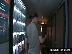 Gloryhole gay blowjob with gay-for-pay guy