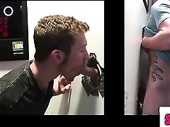 Gay-for-pay first-timer gets gay blowjob at gloryhole